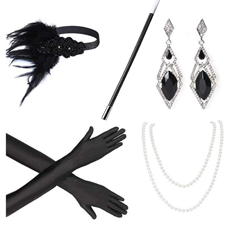 2019 Best Wish Ecoparty 1920s Accessories Headband Necklace Gloves Cigarette Holder Flapper Costume Accessories Set For Women