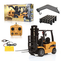 HUINA 1577 2 In 1 1:10 RC Forklift Truck Crane RTR 2.4GHz 8CH / 360 Degree Rotation / Auto Demonstration / LED Light Kids