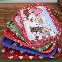 Домашний поднос для рождественской вечеринки, жестяная тарелка для хранения еды, Сервировочная тарелка Фруктовница, Рождественский органайзер для хранения, Декор, Рождественское украшение