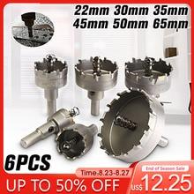 6 Teile/satz 22 30 35 45 50 65MM Hartmetall Spitze TCT Core Bohrer Metall Cutter Core Loch Sah metallbearbeitung Werkzeug Edelstahl Legierung