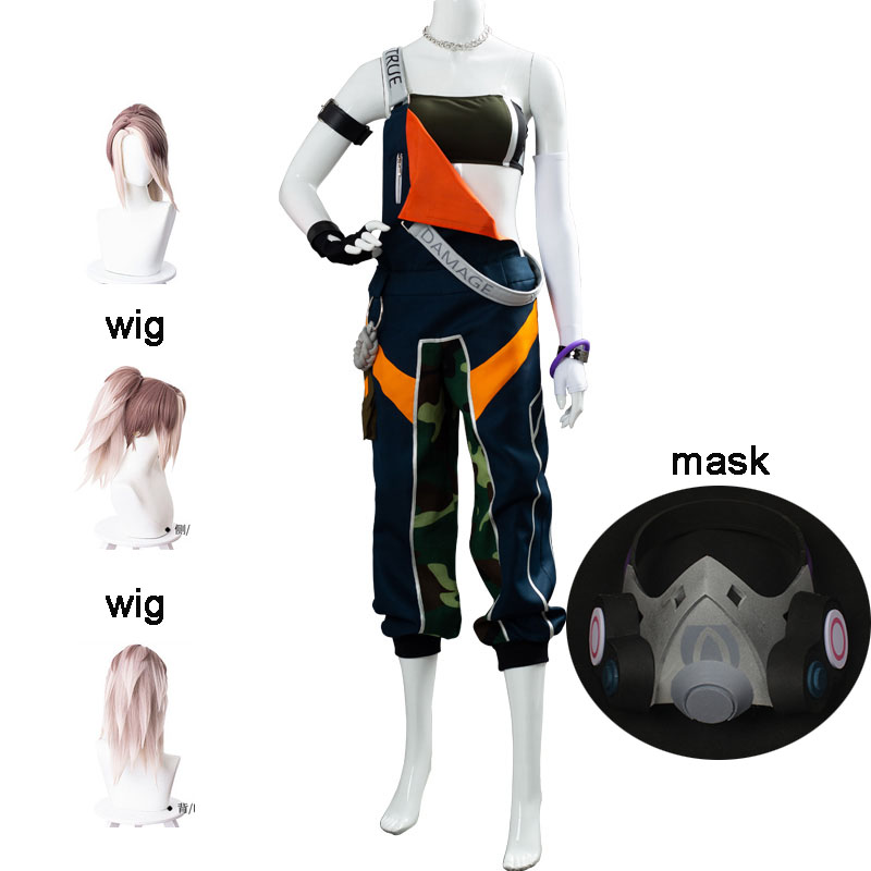 New 10PCS LOL TRUE DAMAGE Akali Cosplay Costume Uniform Adult Female Women Halloween Costume Carnival Outfit And Wig Mask