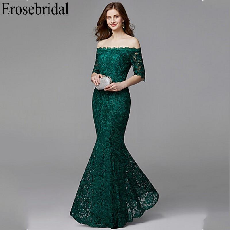 Erosebridal Half Sleeve Long Formal Dresses Evening Gown For Women Elegant Boat Neck Long Evening Dress 2019 Emerald Green Dress