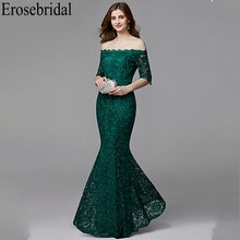 Erosebridal Half Sleeve Long Formal Dresses Evening Gown for Women Elegant Boat Neck Long Evening Dress 2019 Emerald Green Dress
