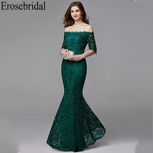 Image 1 - Erosebridal yarım kollu uzun resmi elbiseler gece elbisesi kadınlar için zarif tekne boyun uzun gece elbisesi 2019 zümrüt yeşili elbise