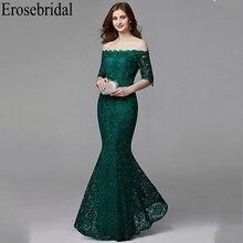 Erosebridal חצי שרוול ארוך פורמליות שמלות ערב שמלת לנשים אלגנטי סירת צוואר ארוך שמלת ערב 2019 אמרלד ירוק שמלה