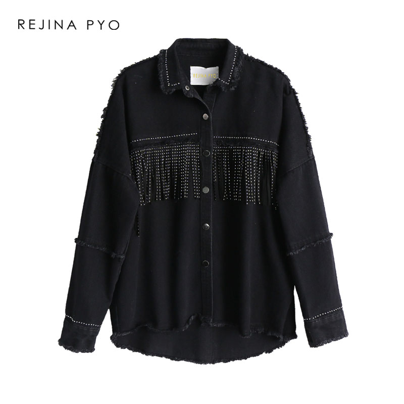 BIAORUINA Women <font><b>Black</b></font> High Quality Loose Denim <font><b>Jacket</b></font> Coat Sequined Tassels Streetwear All-match Metal Covered Button Outerwear image