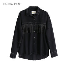 Denim Jacket Outerwear Coat Tassels Sequined Loose REJINAPYO Black All-Match Women High-Quality