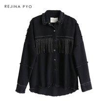 REJINAPYO Women Black High Quality Loose Denim Jacket Coat Sequined Tassels Stre
