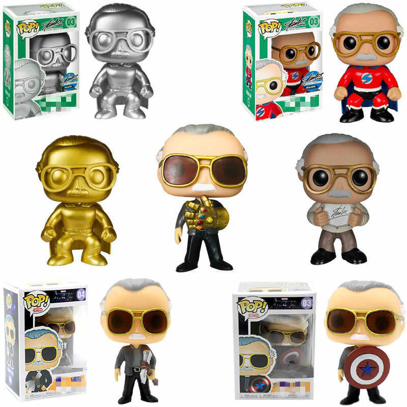 FUNKO POP Father of Marvel Stan Christmas Gift Captain America Thanos Movie Figure Anime Model Pvc Collection Toys