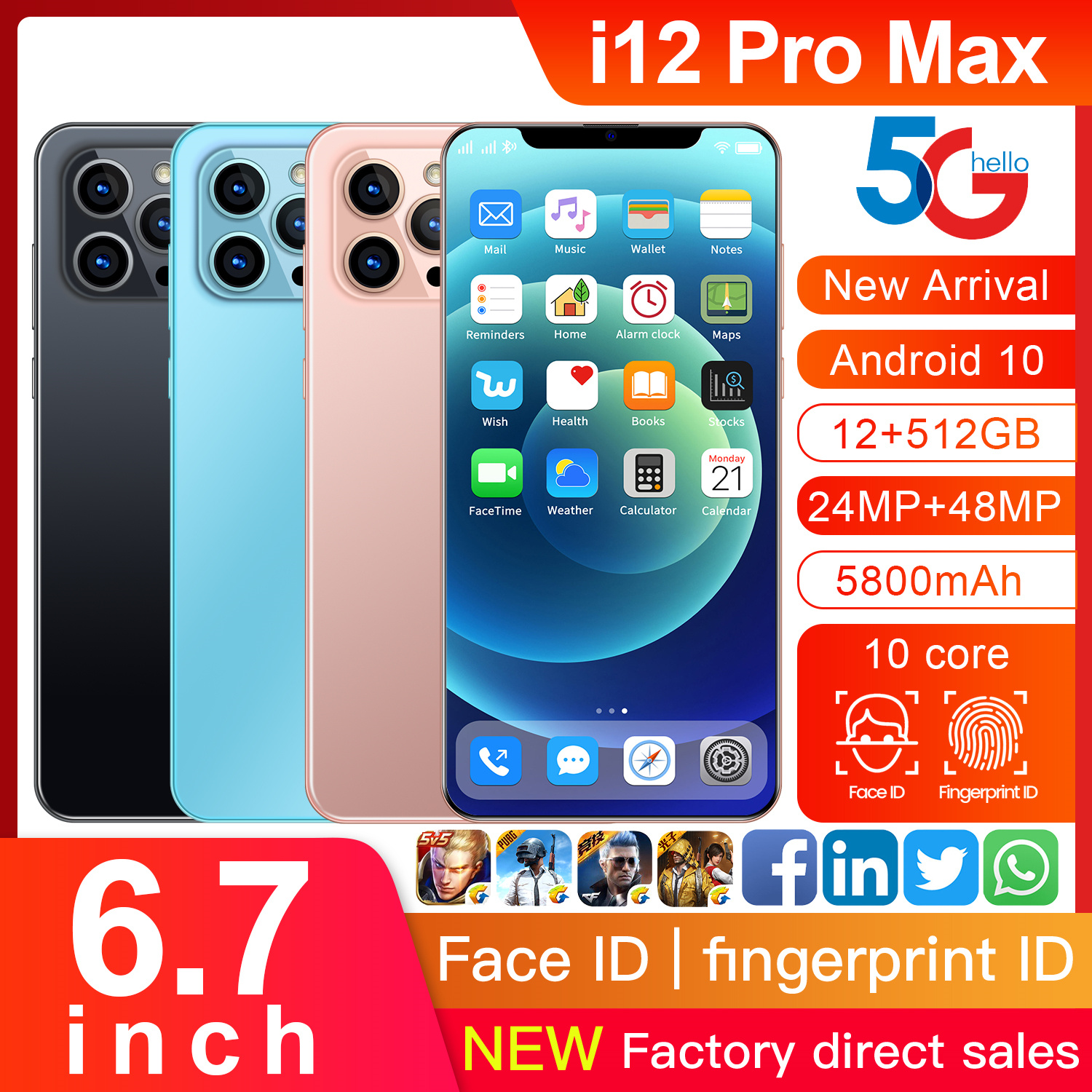 Global Version I12Pro Max 6.7 Inch Full-screen Smartphone 5800mAh 12+512GB 24+48MP Support Face ID 4G LTE 5G Network Mobilephone