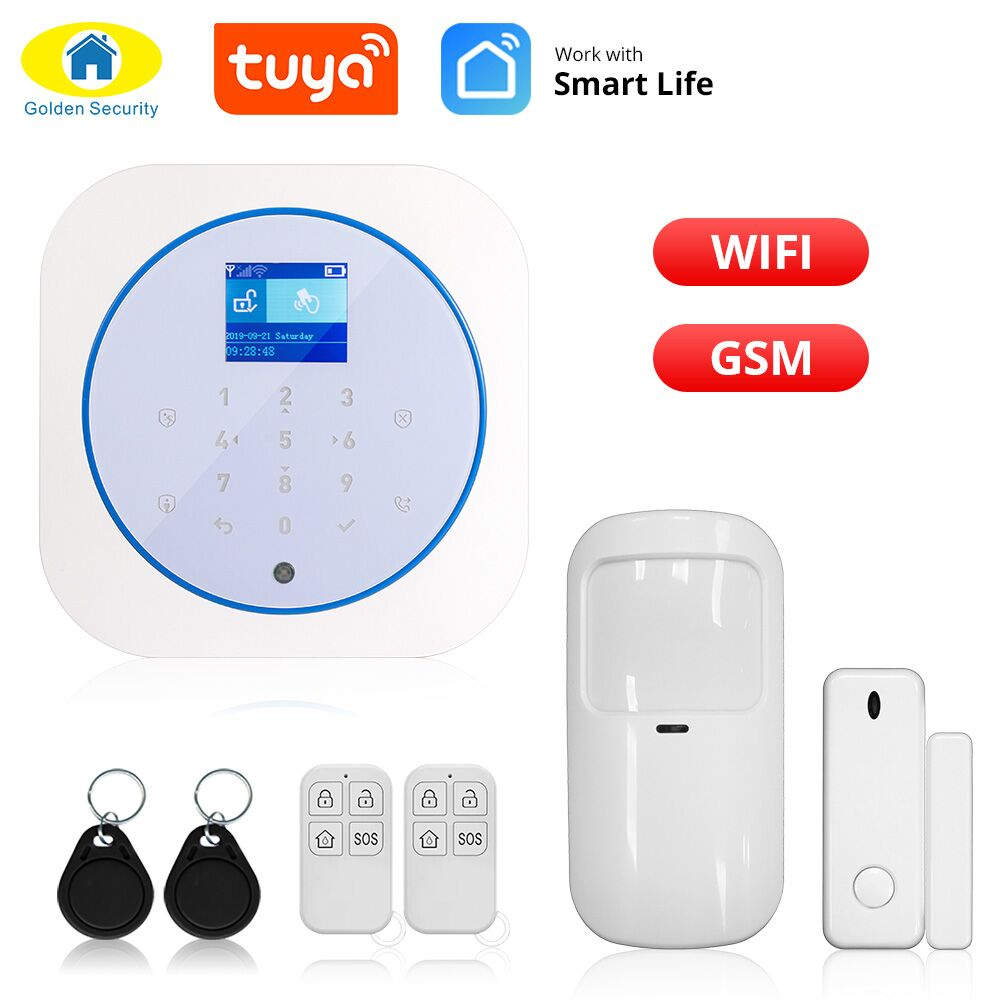 Golden Security WiFi GSM Wireless Home Security Alarm System Tuya Smart Life APP Control Burglar Anti Theft Alarm System