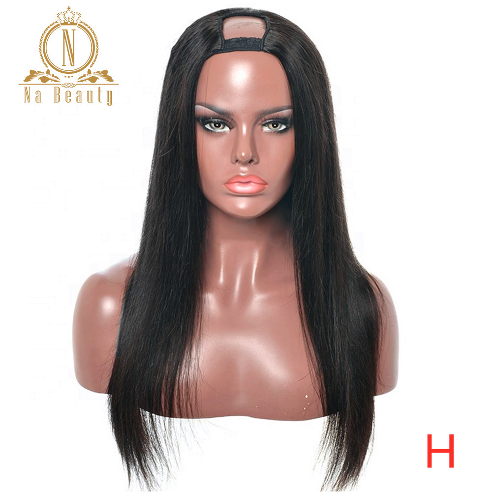 Straight U Part Human Hair Wigs For Black Women Middle Part Peruvian Hair 2
