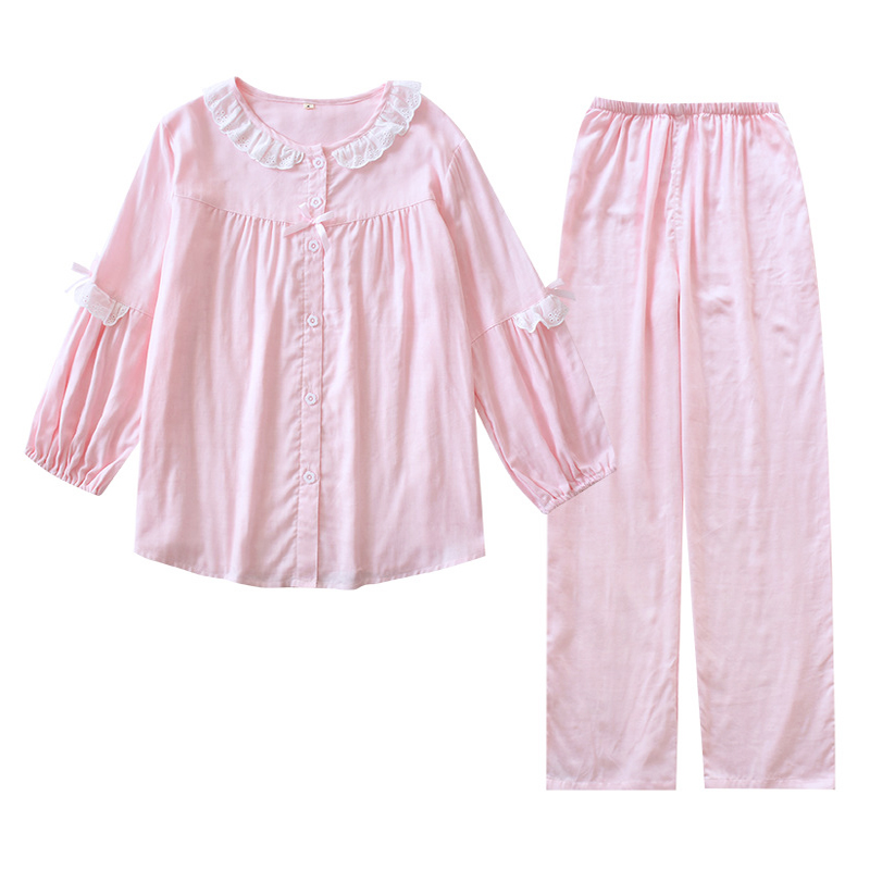Cute Doll collar Japanese pajama sets women sleepwear 100% gauze cotton sweet pure color long sleeve women pyjamas