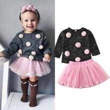 Г. Комплекты осенне-зимней одежды для маленьких девочек однотонный пуловер с помпонами, свитер Топы+ фатиновая юбка, От 6 месяцев до 4 лет одежды