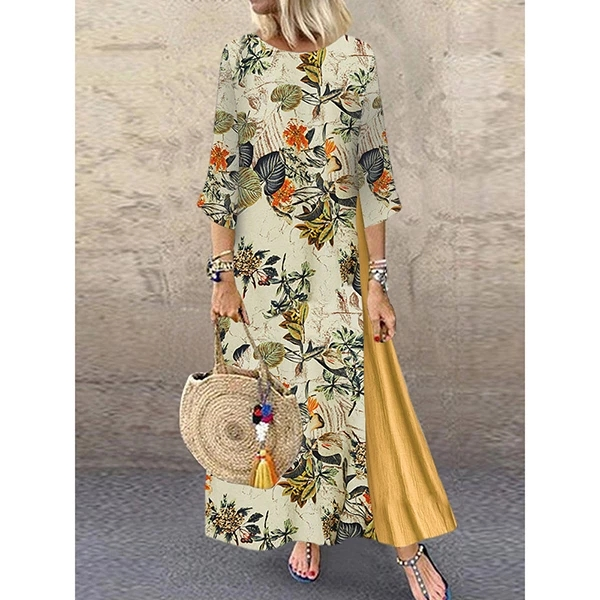 Women Summer Boho Floral O Neck Long Sleeve Maxi Dress Ladies Casual Loose Dress Oversized Kaftan Beach Sundress