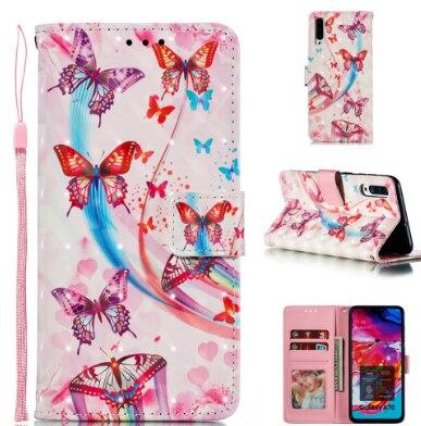 Pour Samsung Galaxy A70 A60 A50 A40 A30 A10 étui de luxe belle en cuir d'éléphant Samsung A70 A50 joli Cas de téléphone de fleur de papillon