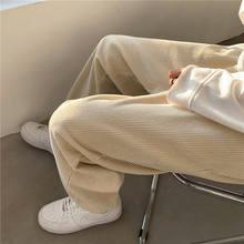 İlkbahar ve sonbahar kadife pantolon erkek moda Retro rahat pantolon erkekler Streetwear gevşek Hip-hop kore düz pantolon erkek S-3XL