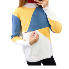 Breastfeeding Maternity Sweater 2019 Autumn Winter Nursing Tops for Pregnant Women Tee Color Matching Pregnancy Sweater C0108
