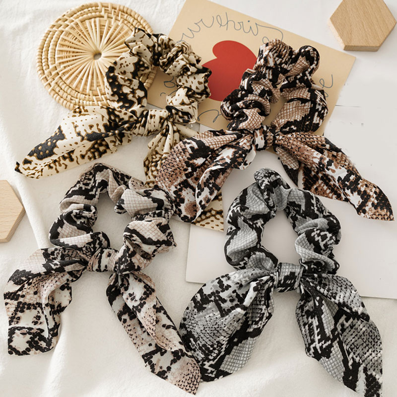Women Hair Accessories Leopard Lady Scrunchies Bow Ponytail Headband Hair Band Hair Tie Rabbit Ears Knotted Hair Rope Bands