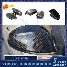 Para bmw 1 série 3 e81 e82 e87 e88 e90 e91 e92 e93 fibra de carbono espelho retrovisor capa caps acessórios do carro