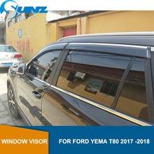 Janela do carro viseira defletor para ford yema t80 2017 2018 winodow viseira ventilação shades sol chuva guarda defletor sunz