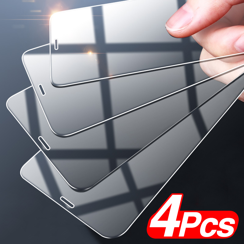 4Pcs Full Cover Tempered Glass For iPhone 11 Pro X XR XS MAX 12 Pro Max Mini Screen Protector For iPhone 6 7 8 Plus Glass film 1