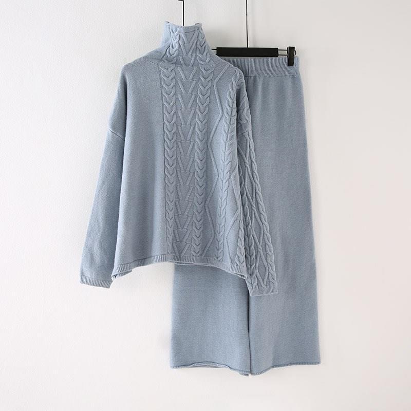 Winter Pullover Hohe Taille Hosen Zwei Stück Set Casual Frauen Rollkragenpullover Breite Bein Hosen Strick Anzug Lange Feste Outfits