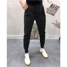Calças listradas dos homens preto branco verão fino tornozelo comprimento calças casuais masculino respirável moda magro ajuste harem calças