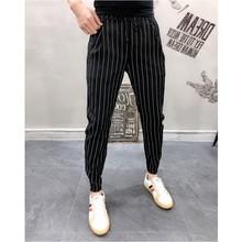 Mens Striped Trousers Pants Black White Summer Thin Ankle length Casual Pants Male Breathable Fashion Slim Fit Harem Pants Men
