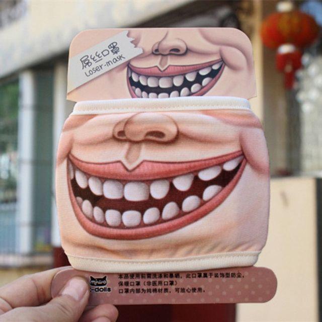 4Pcs Anti Dust Funny Mouth Mask Anti Flu Cotton Cartoon Face Masks Kit 85WB 4