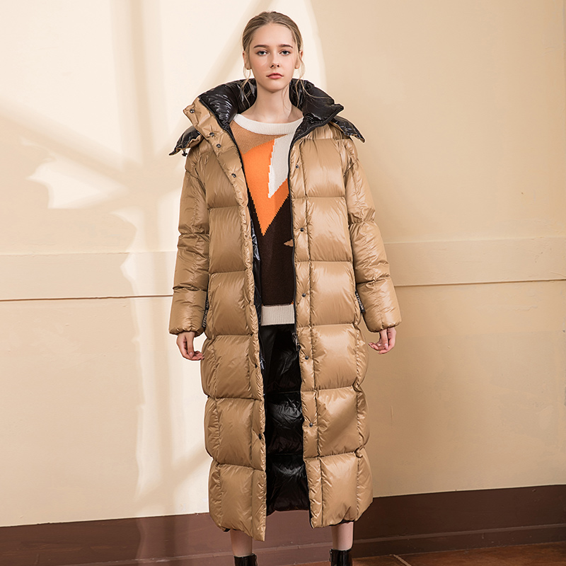 Over the knee longer warm Cotton coat winter hooded fluffy down parkas female hooded thick warm oversize cotton jackets F366