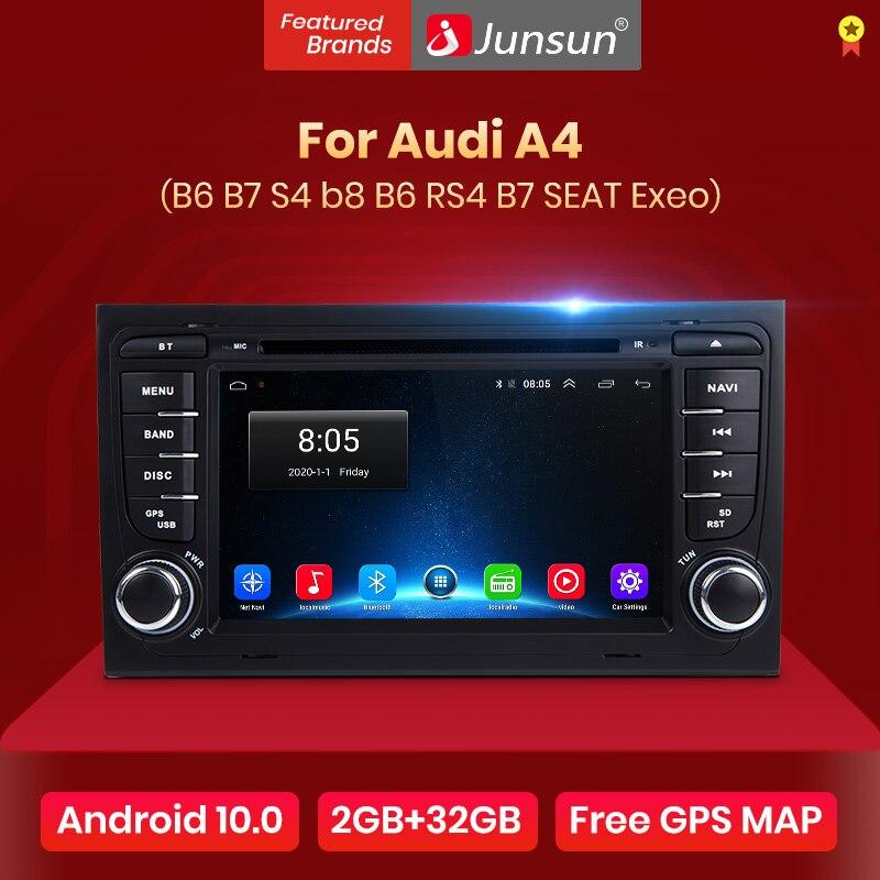 Junsun-Radio Multimedia con GPS para coche, Radio con reproductor, Android 10,0, DSP, 2 din, navegador, 2 din, para Audi A4, B8, B7, B6, S4, RS4, B7, SEAT Exeo