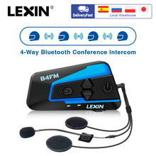Marke Lexin LX-B4FM für 4 Fahrer Intercom Moto rcycle Bluetooth Helm Headsets BT moto intercomunicador mit FM radio(China)