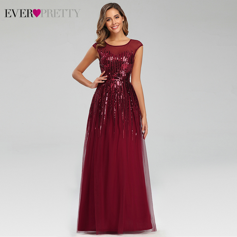 Sparkle Burgundy Evening Dresses Long Ever Pretty EP00753BD A-Line O-Neck Striped Elegant Long Party Gowns Vestidos Elegantes