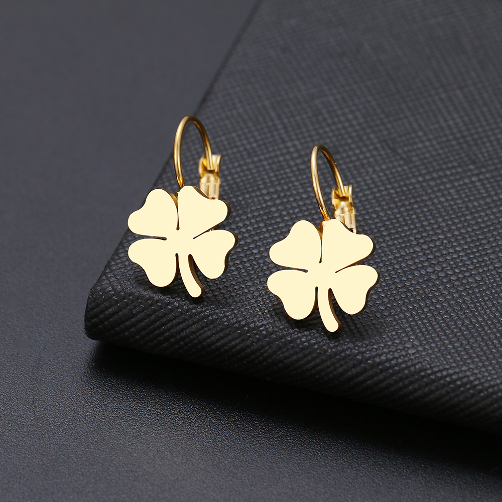 DOTIFI For Women earring lucky clover, classic cross, geometric figure welded stainless steel gold and silver earrings(China)