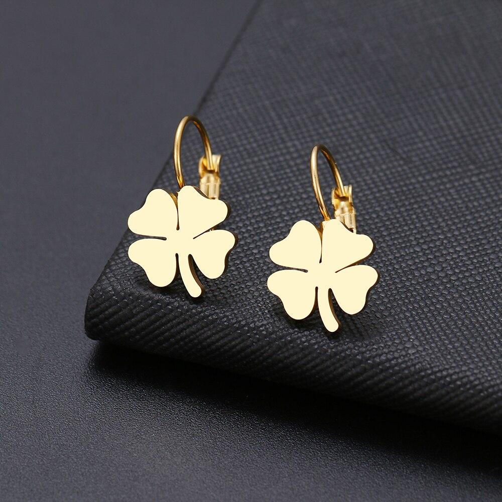 DOTIFI для женщин серьги Счастливый клевер, классический крест, геометрическая фигура сварные Нержавеющая сталь Золото и серебро серьги X61 X74|Серьги-подвески|   | АлиЭкспресс