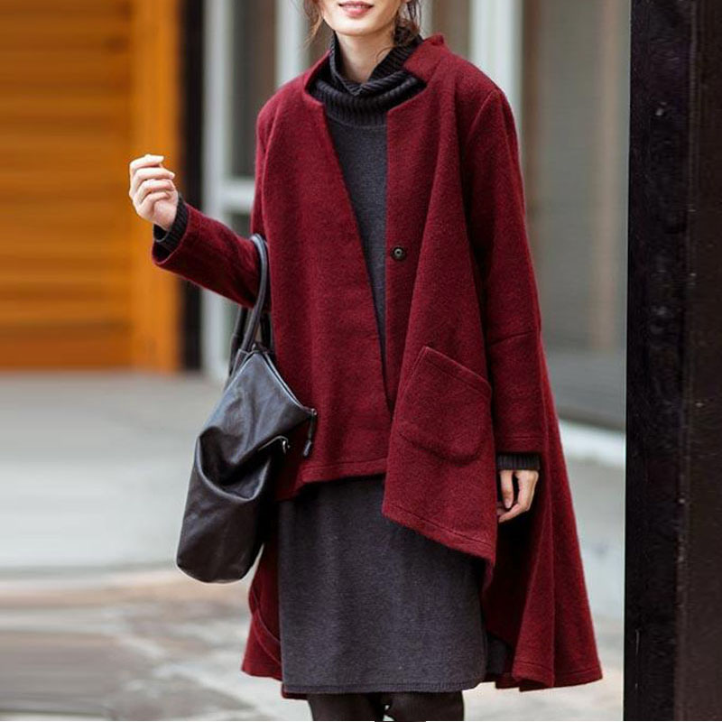 Image 2 - Versear Women Autumn Outerwear Casual Solid Notched Collar Pockets Long Sleeve Irregular Coat Fashion Poncho Coat Plus Size 5XL-in Wool & Blends from Women's Clothing