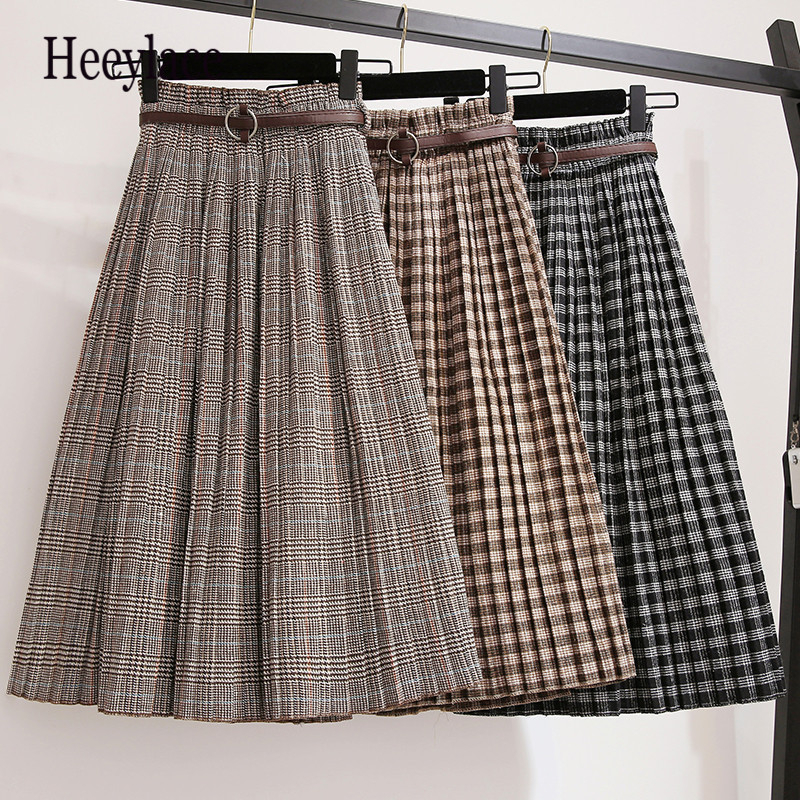 New 2019 Autumn Winter High Waisted Thick Maxi Skirt Pleated Skirts Vintage Plaid Skirt Free Shipping Plus Size 3xl
