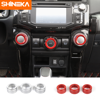 Interior Mouldings For Toyota 4Runner Car Air Conditioning Knob Switch Button Trim Cover Ring Stickers For Toyota 4Runner 2010+