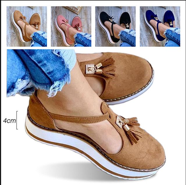 Tassel Round Toe Flat Sandals Thick Bottom Buckle Strap Casual Beach Single Shoes Woman Non-slip Flats Woman Sandal Chaussures 32
