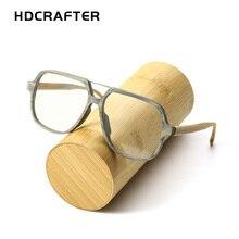 HDCRAFTER Holz Brillen Rahmen Männer Übergroße Brillen Rahmen Klare linse Brille Lesen Optische Gläser Rahmen