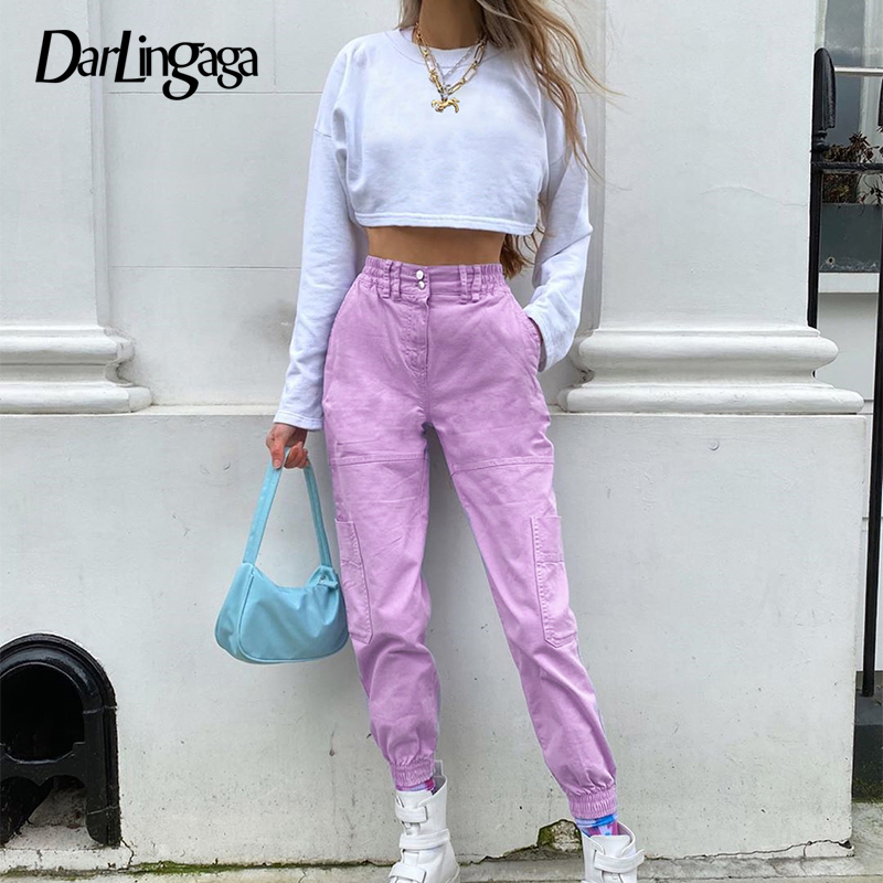 Darlingaga Streetwear Solid Pockets Cargo Pants Women Clothes Trousers Fashion Slim Elastic Waist Women's Pants Capri Pantalones