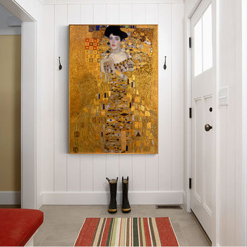 Portrait Of Adele Bloch Canvas Paintings On The Wall Gustav Klimt Kiss Paintings Reproductions Canvas Prints For Living Bed Room image