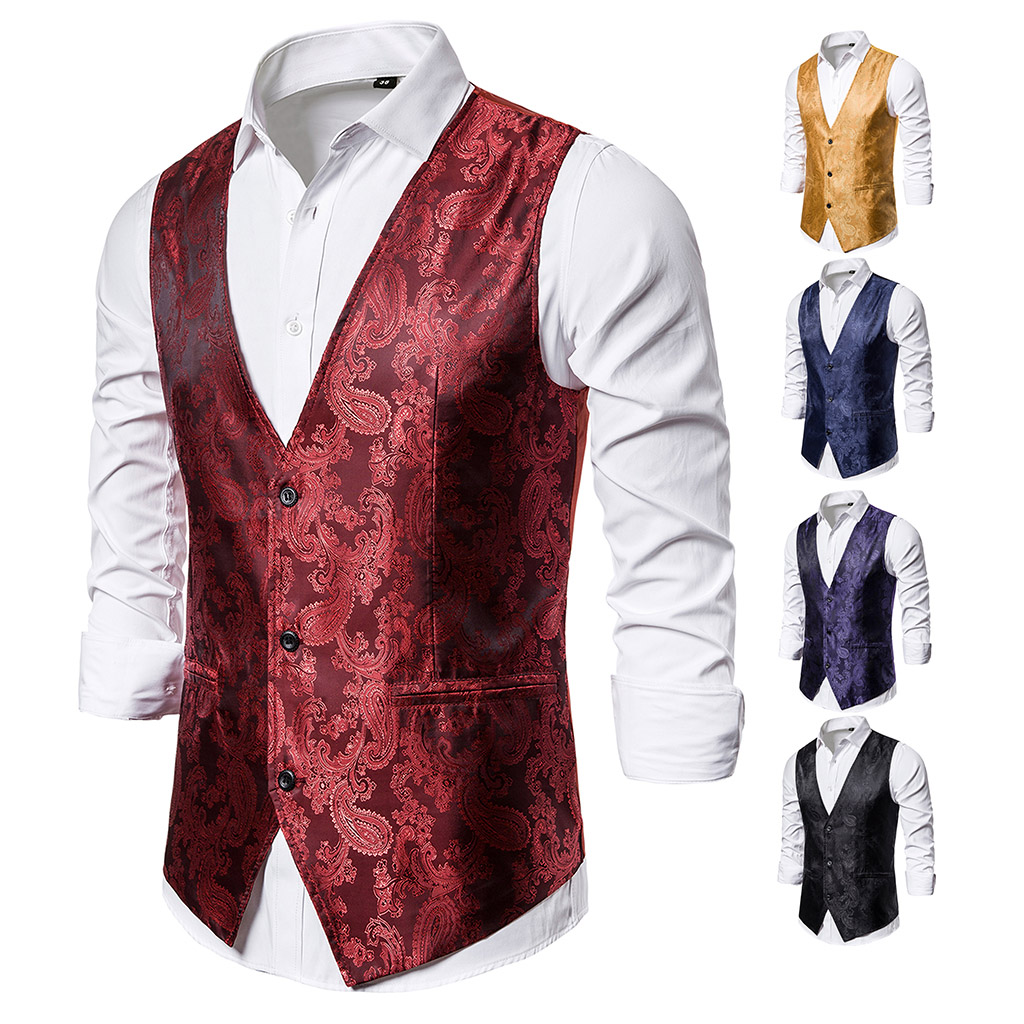 Puimentiua Luxury Gold Printed Shirts Men's Steampunk Vest New Brand Night Club Prom Suit Vest Men Waistcoat Wedding Blouse Tops