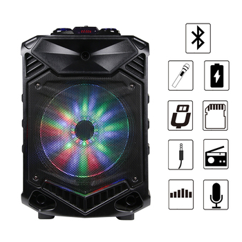 Shinco Portable Bluetooth Karaoke DJ Speaker System High Power 12-inch Woofer Trolley Speaker with Wireless Microphone 4