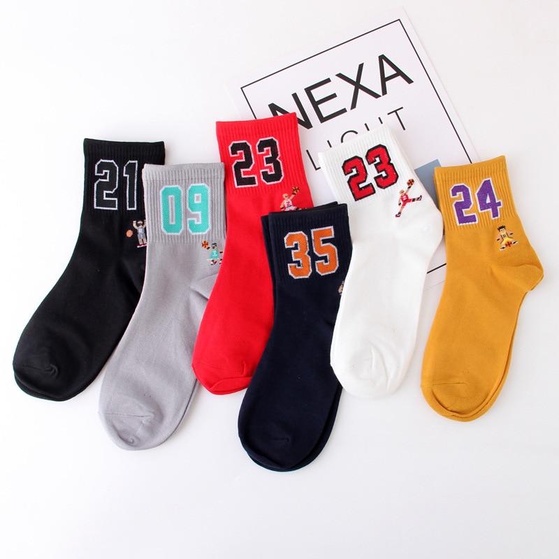 High Quality Men's Basketball Team Socks Air Permeability  Women's Unisex Novelty Letter Digital Stripes Skateboard Socks
