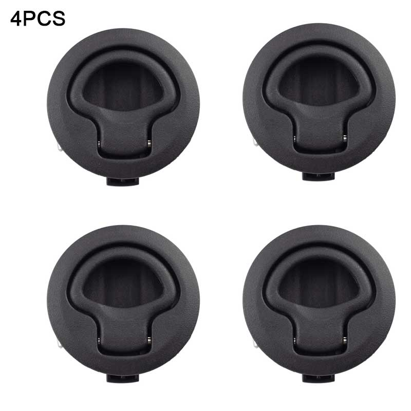 4pcs Hot Sale Black Round Deck Lock Flush Pull Slam <font><b>Latch</b></font> for RV <font><b>Boat</b></font> Marine Deck Hatch Door Replacement Non-Locking Lock Handle image