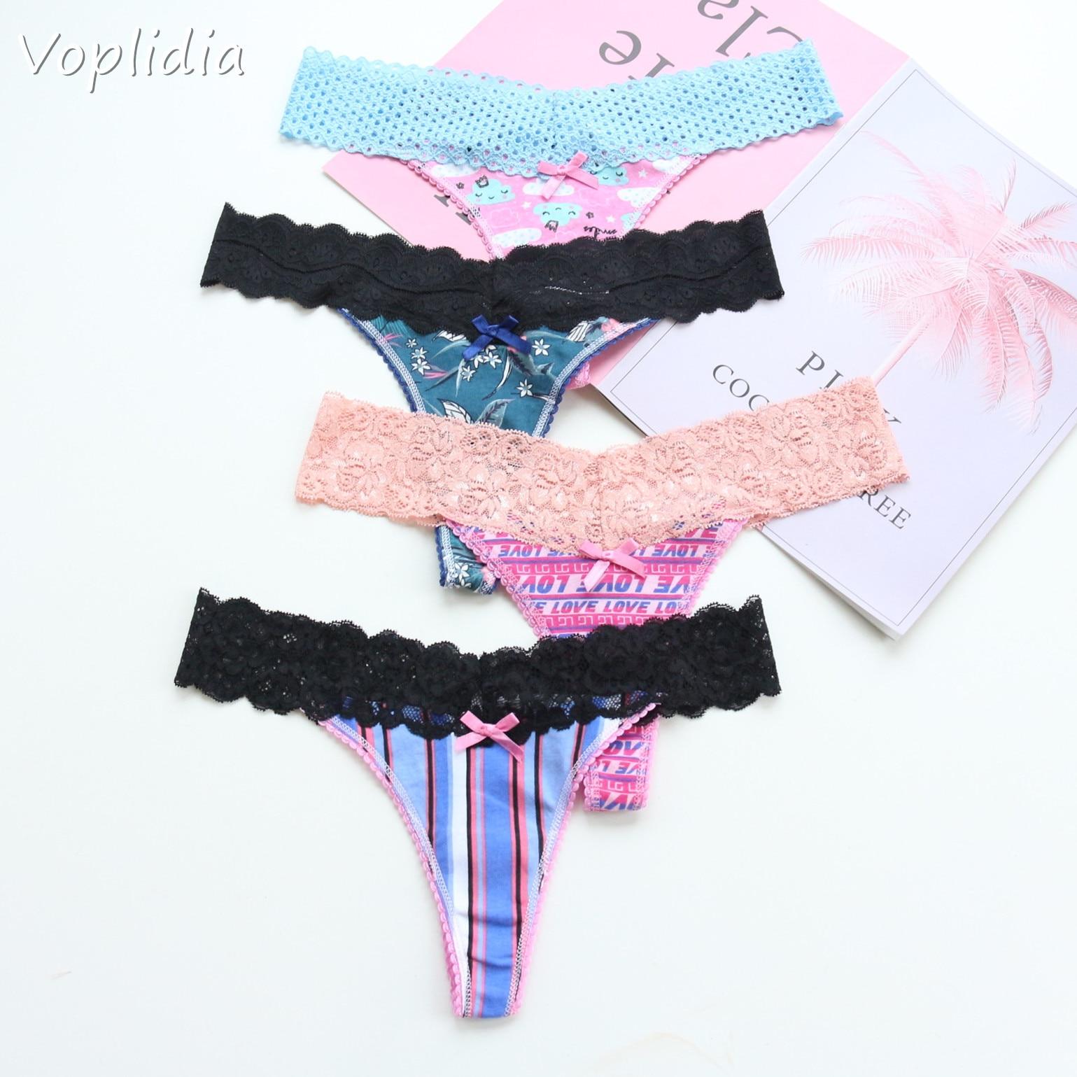 Voplidia Women's Panties Underwear Women Plus Size Sexy Lace Lingerie Panty Thongs G String Tanga T-back Seamless Female PM052