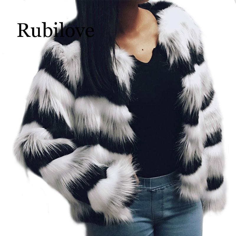 Rubilove Plush Jacket Women Autumn Winter Elegant Fluffy Wave Line Long Sleeve Ladys Outerwear High Quality Artificial Fur Coat