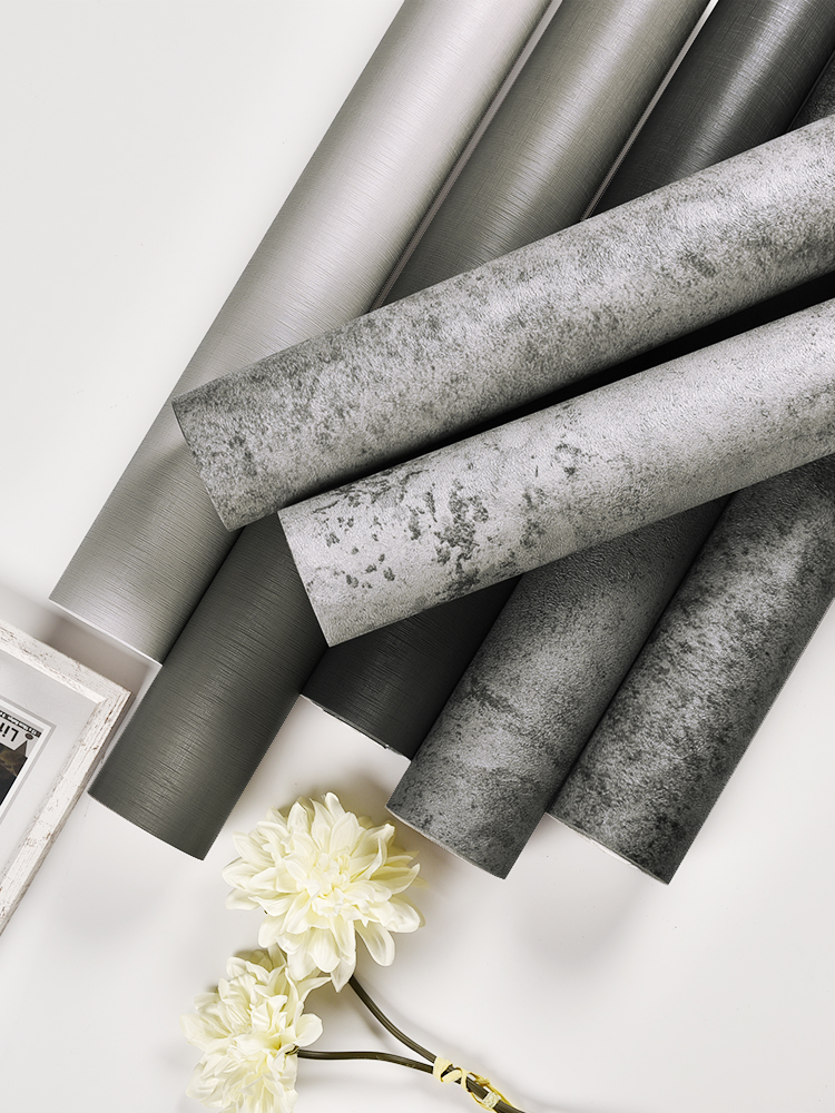 Wallpaper Self-adhesive Clothing Store Gray Wallpaper Nordic Industrial Wind Wall Sticker Decorative Bedroom Room Cement Wall